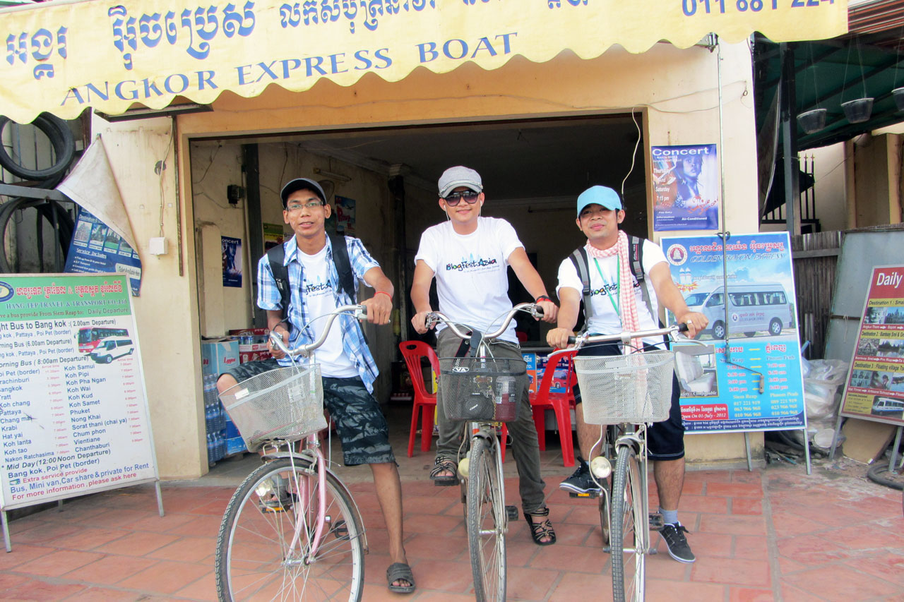 Theara, Chetra (me) and Chenda rent bikes from a guesthouse.