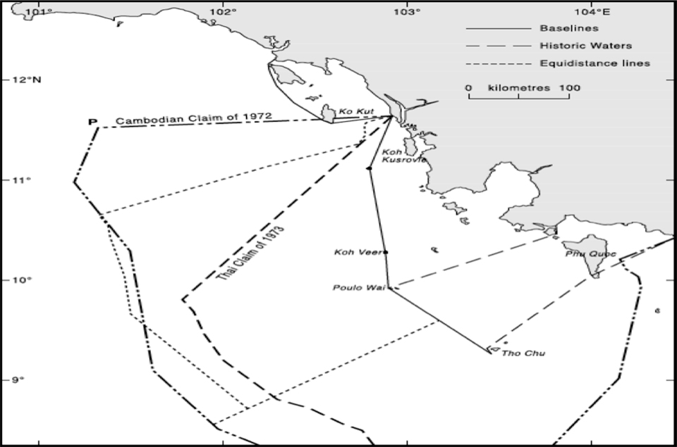 Continental Shelf Claimed Lines by Cambodia and Thailand