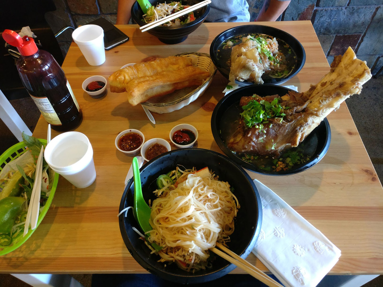 Got to Los Angeles and my friend took me to eat the massive Phnom Penh noodle. Look at the bone!